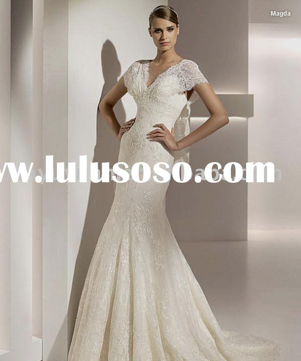 Fashionable cap-sleeve slim A line wedding dresses/bridal gowns,popular lace wedding gown POW008
