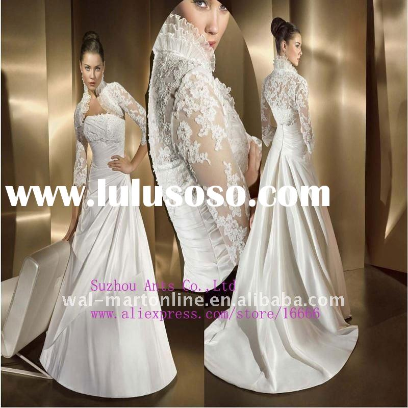 Fast Shipping EU042 Latest A-line ivory Satin Lace Jacket Designer Long Sleeve Wedding Dress