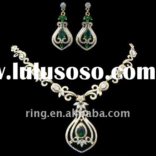 Floral filigree necklace earring the middle east crystal unique wedding jewelry set