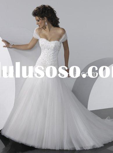 HA8032 Beautiful Simple Cap-sleeve Bridal Wedding Dresses
