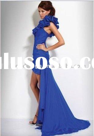 HLE00177 Fabulous asymmetric ruffle one shoulder hi-low sheath dark blue chiffon Evening dress