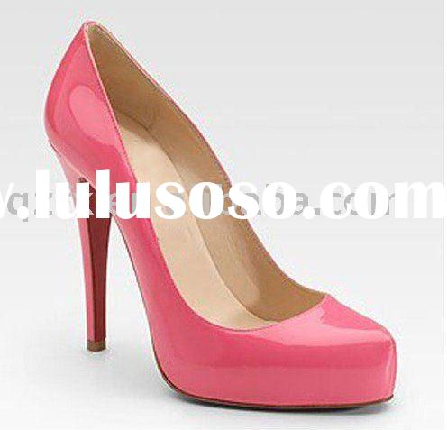 HOT pink high heel shoes , patent leather ladies shoes