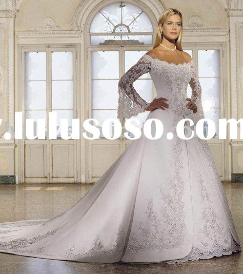 HY0885 popular long sleeve bridal wedding gown