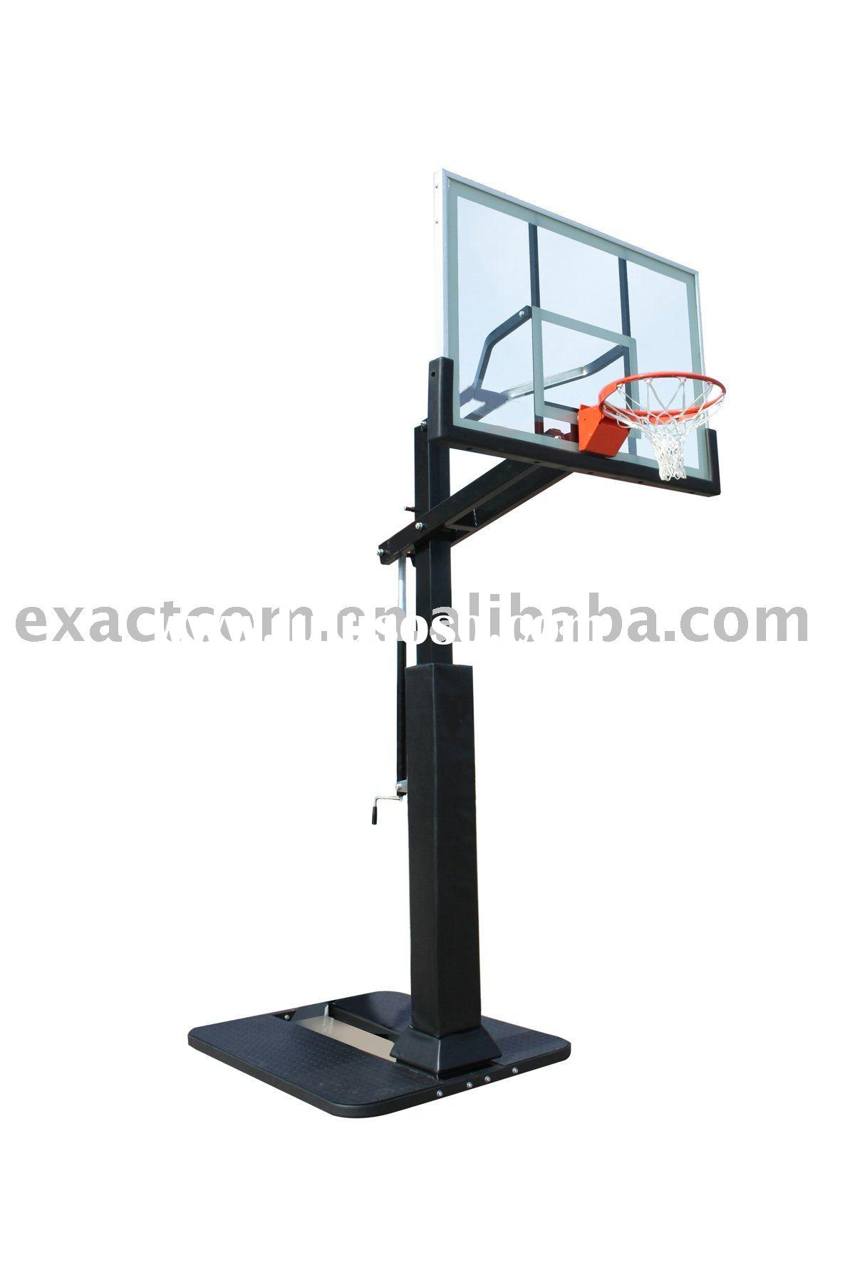 Height adjustable outdoor basketball stands