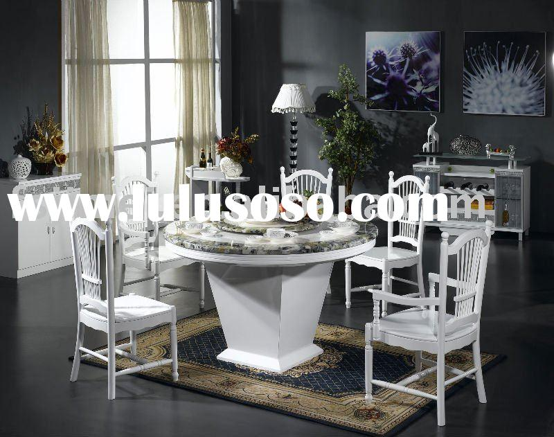 High gloss White Round Marble top Dining room furniture