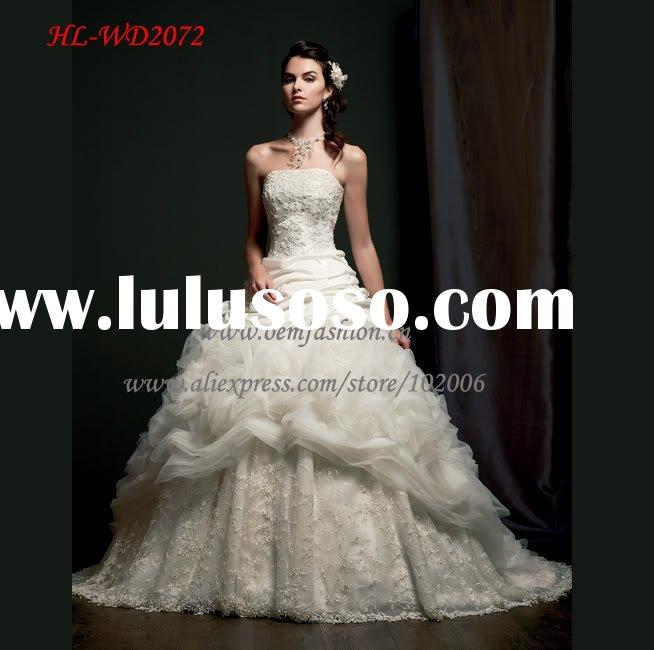Hot Ball Gown Organza Lace Appliqued Beaded Wedding Dress Bridal Gown HL-WD2072