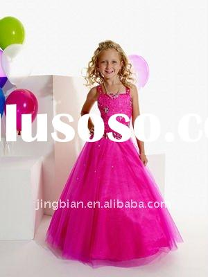 Hot Sell Strapless Beaded Girls party dresses 2012 Pop Flower Girl Dress Child Clothes Perfect Kid D