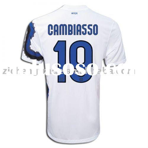 Inter Milan 10/11 Away Team Soccer Uniform Kit CAMBIASSO 19 With Coolmax Fabric