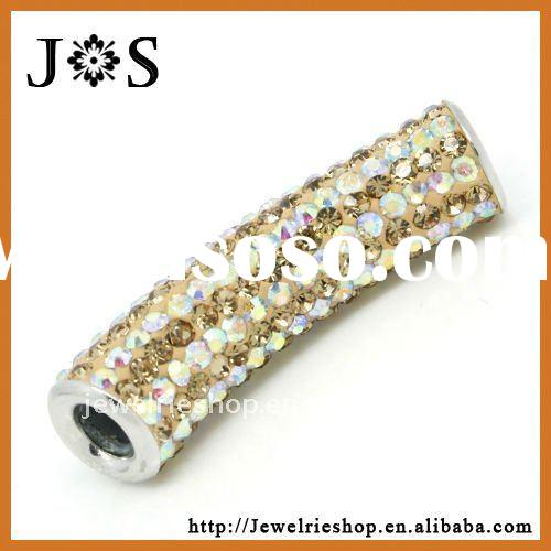 Jewelry Crystal Pave Bead Curved Tube 925 Sterling Silver Findings