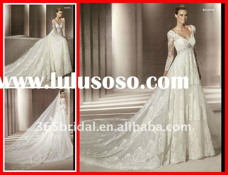 Junoesque Empire Long Sleeve Lace wedding dress 2012