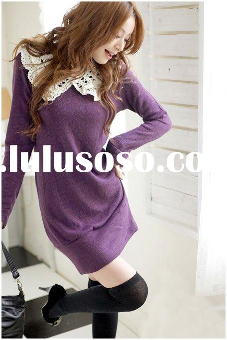 Korean style fashion ladies wool dress
