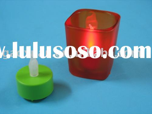 LED Candle With Glass Holder,Flameless Candle,Tea Light