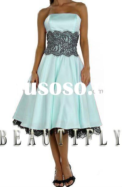 Lace Light Blue Bridesmaid Prom Dresses JH914