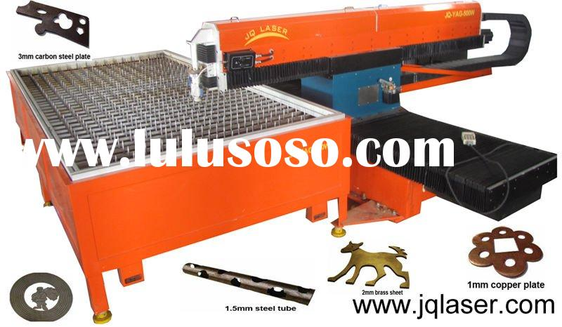 Laser machine cutting metal sheets computerized imagine shape