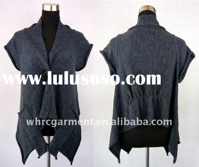 Latest fashion 2011/2012 autumn and winter wool/acrylic short sleeve woman's cardigan sweate
