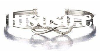 Love Knot Diamond Cuff Bangle Bracelet in Sterling Silver
