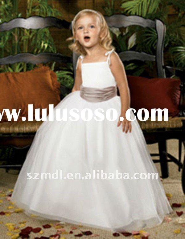 Lovely spaghetti strap pure white with brown sash long princess ball gown flower girl dress