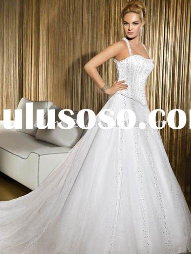 Luxary white halter beaded basque croset cathedral train wedding gown