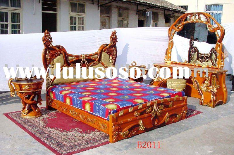 Luxury antique home furniture, wooden, hand carving,king bed,dresser w/mirror, night stand