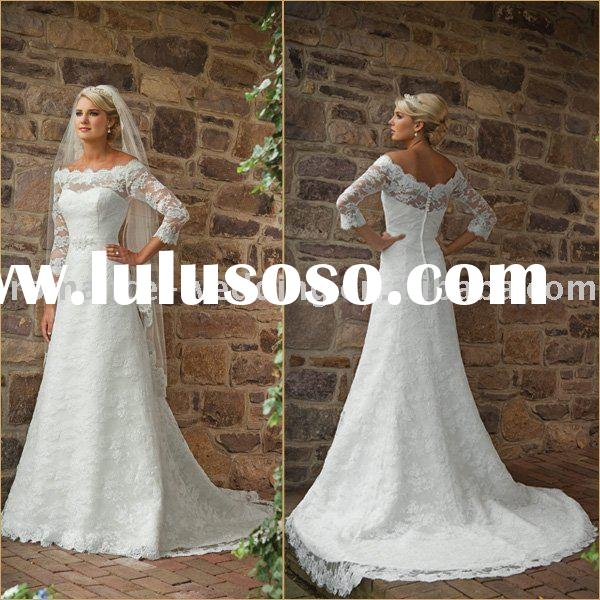 MC0080 New Arrival Beaded Long Sleeve Lace Wedding Dress