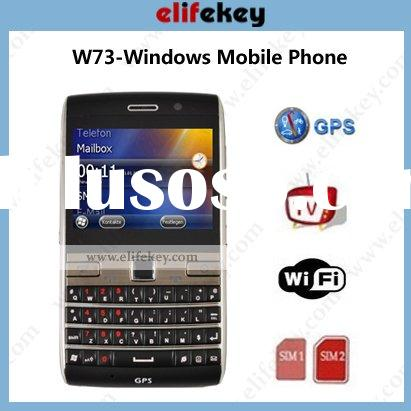 MFU W73 Quad Band GSM Dual sim card windows6.5 GPS WIFI TV 2.6inch touch screen with Optical mouse Q
