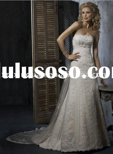 MSW175 strapless beaded lace overlay with sheer tulle long trailing wedding dress