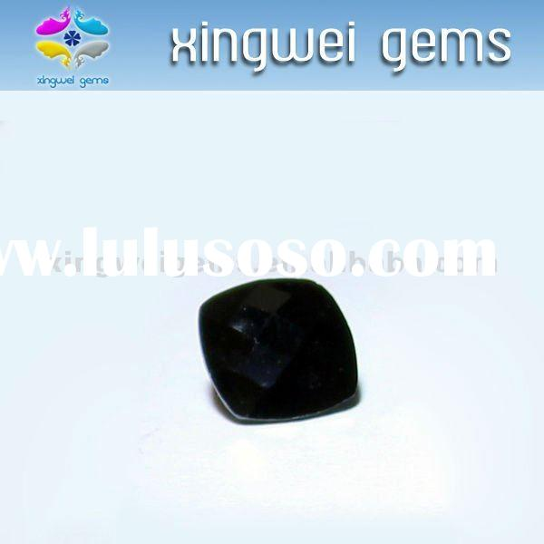Machine cut black cubic zirconia gems,gemstones