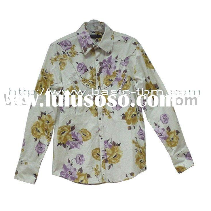 Men's Cotton Flower Printed Long Sleeve Shirt