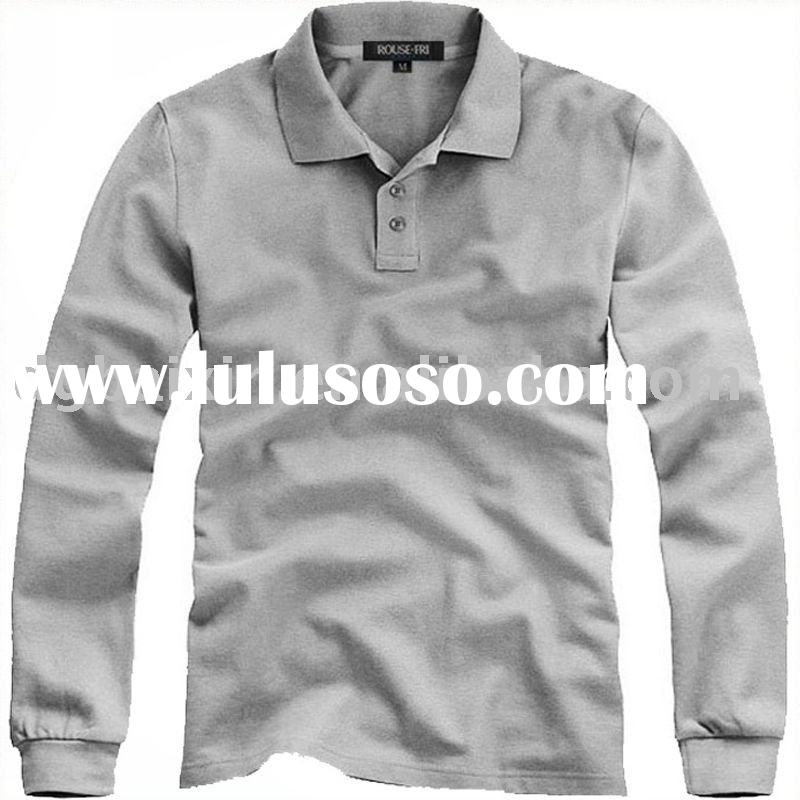 Men's brand fashion long sleeve polo shirt