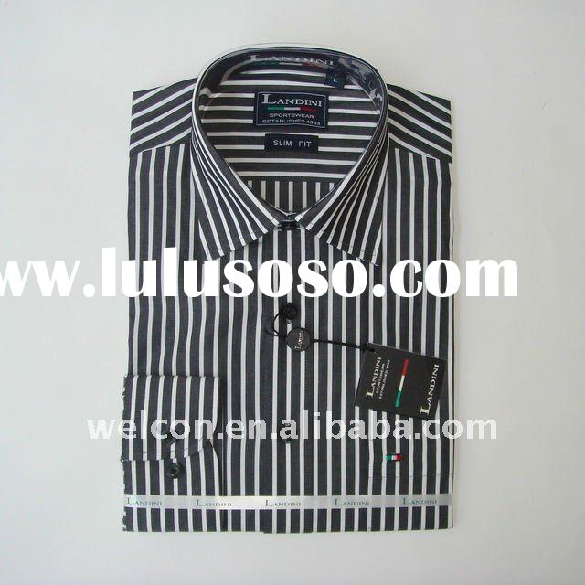 Men's classic business dress 100% cotton long sleeve stylish black and white thick stripe sh