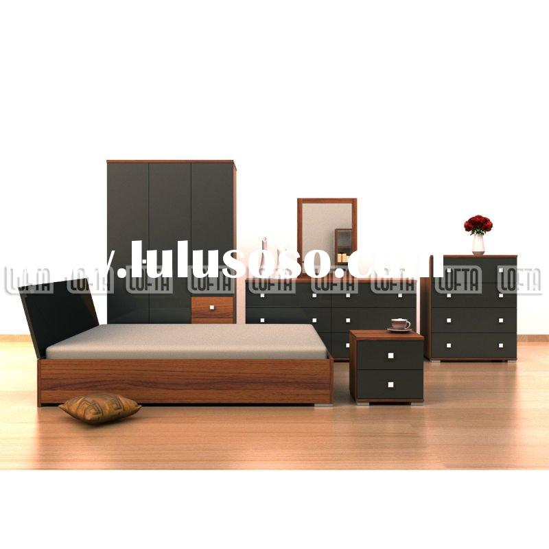 Modern Bedroom set furniture with double bed, wardrobe, dresser,bedside,drawer chest