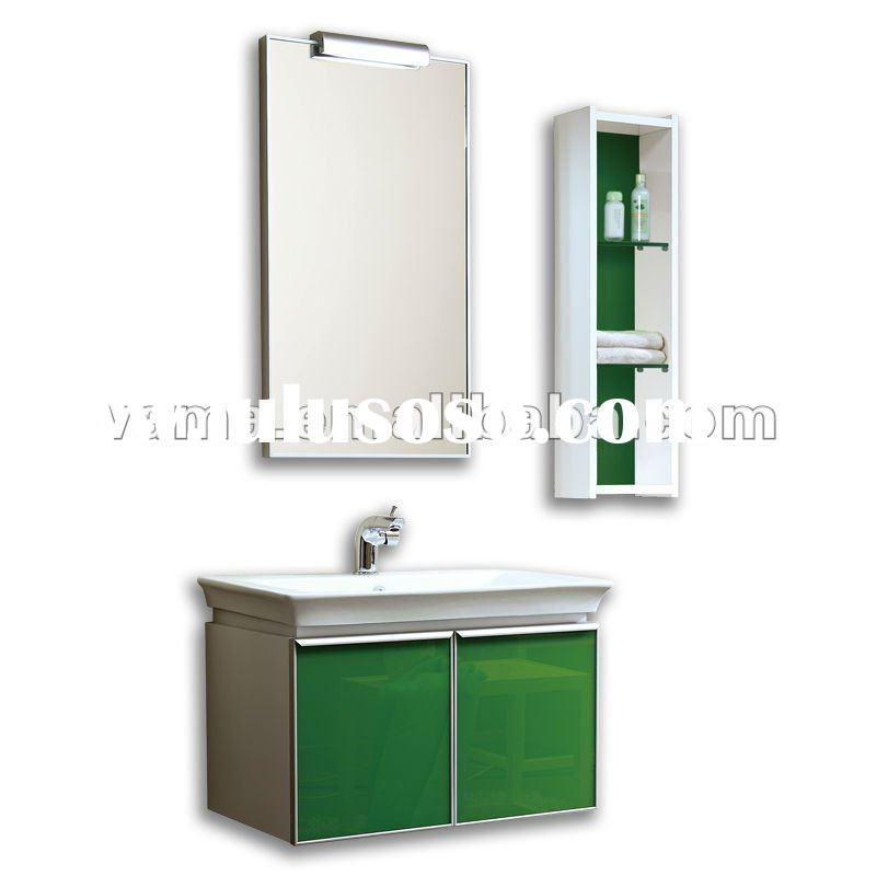 Modern glass single basin bathroom cabinet vanity