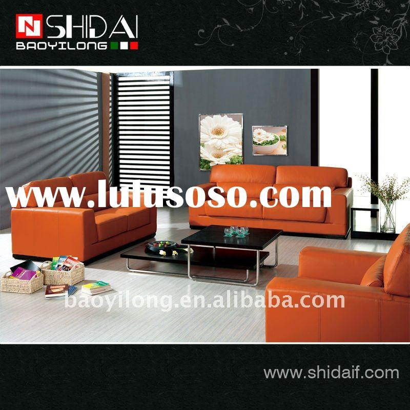 Modern orange sectional real leather sofa 945