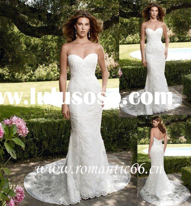 Modern satin lace strapless sweetheart neck mermaid wedding dresses
