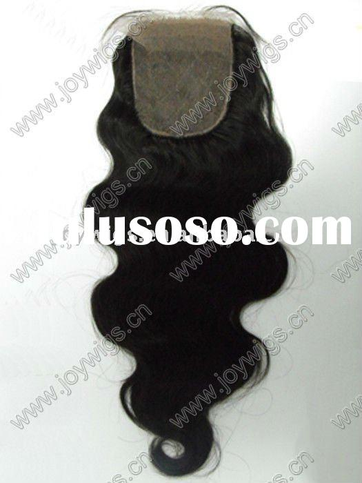 Natural look Body wave Indian Remy Hair Weave Silk Base Top Lace Closure Paypal Acceptable