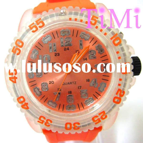 New 7 Colors Lights Fashion Sport Watch (orange) silicone watch