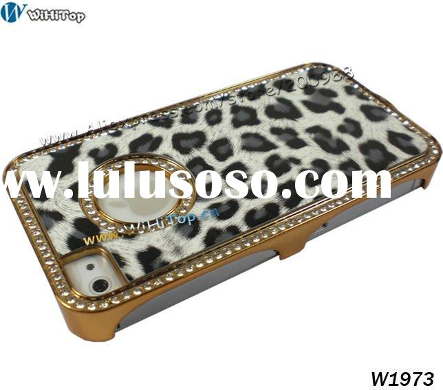 New Arrival~ Luxury Diamond Chrome Case for iPhone 4, with Leopard Skin Design, Retail Packing. fash