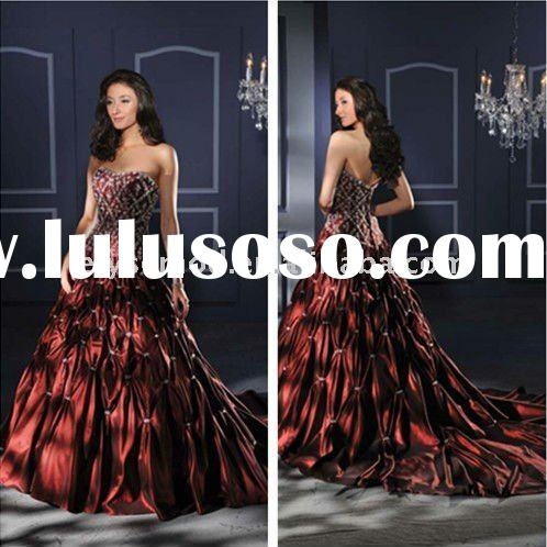 New Spring Design Strapless Embroidery Beaded Taffeta Red Informal Wedding Dress