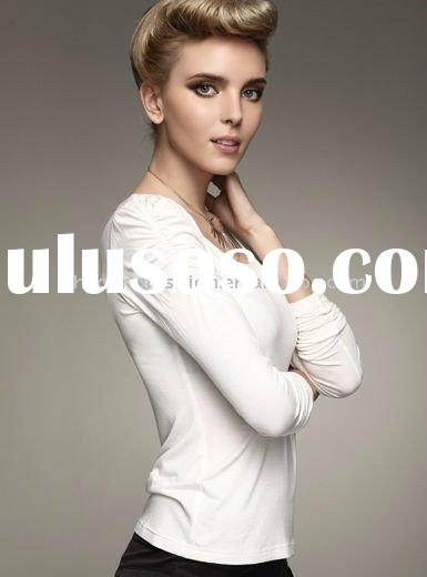 New arrival women's 100%cotton spandex jersey white plain round neck casual long sleeved t s