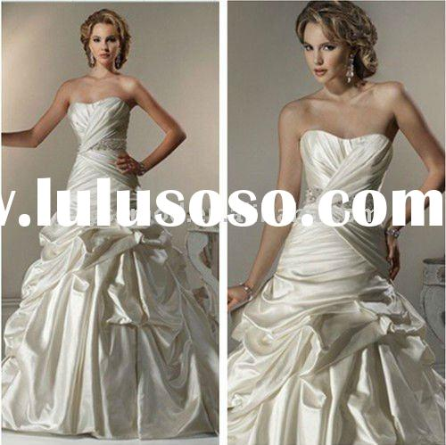 Newly Designed A-line Strapless Caught-up Gown Vintage Wedding Dresses