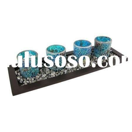 Ocean Style Mosaic Glass Candle Holder With Wood Tray Set