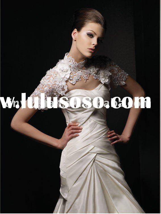 One piece slim A line fashionable designer ruffled strapless wedding dress/bridal gown/wedding gown