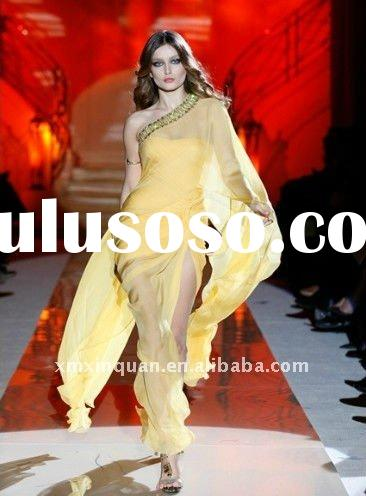One sleeve crystal beaded yellow transparent long women's arabic evening gowns dresses desig
