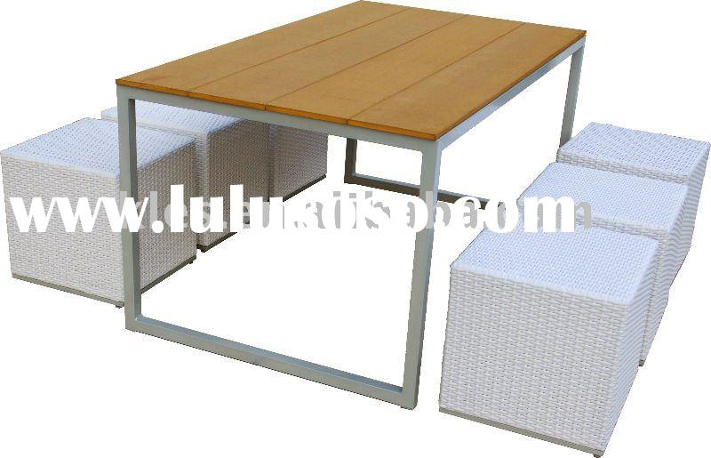 Outdoor furniture teak table and rattan chair