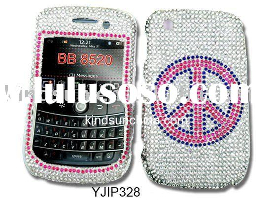 Peace Rhinestone cell phone case for Blackberry