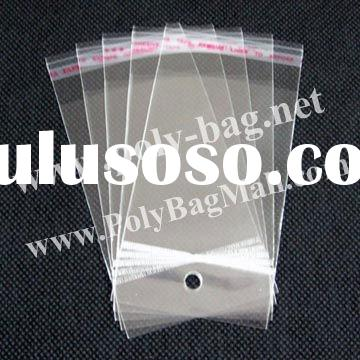 Plastic Packaging Bags with hanger header and self-adhesive seal (6x12cm)