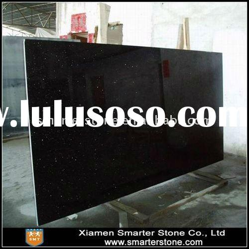 Polished Black Galaxy Granite Slab