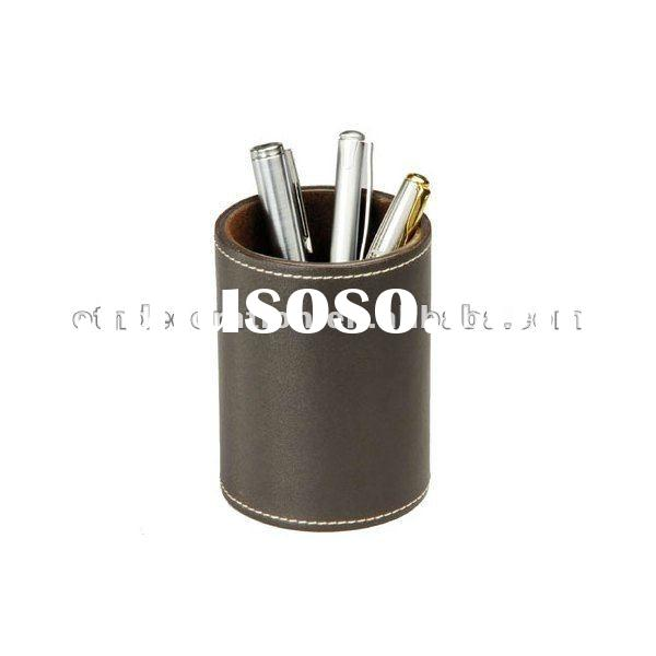 Promotional Gift Round PU Leather Pencil Pot Pen Holder
