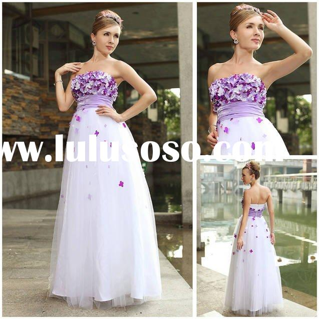 Purple Appliqued Tulle Floor-length Formal bridesmaid dress white Strapless Plus size Hot sell drop