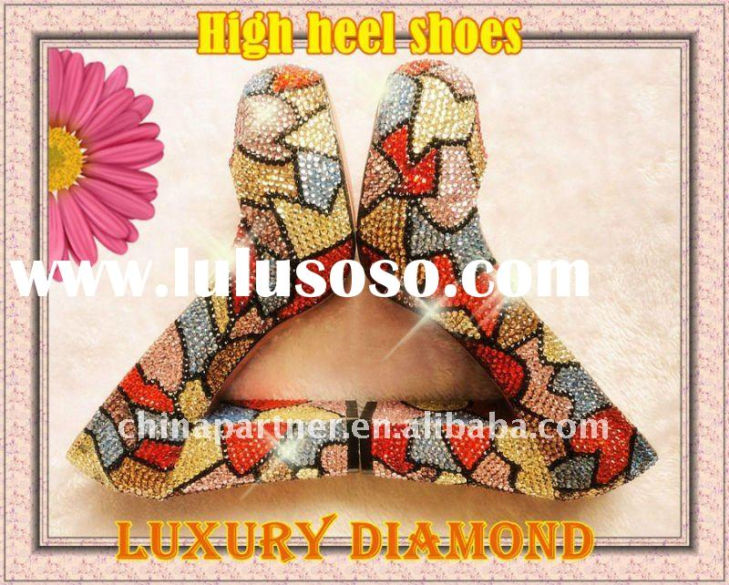 RAINBOW COLORED CUSTOM HAND MADE SWAROVSK DIAMANTE CRYSTAL STILETTO WEDDING AND PARTY HIGH HEEL SHOE